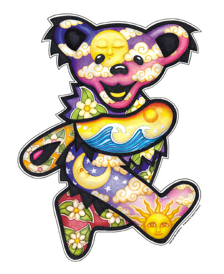 Jumbo Grateful Dead Night/Day Dancing Bear sticker