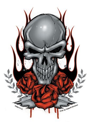 Skull Roses Sticker