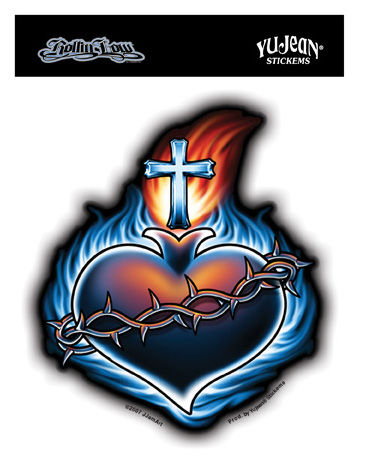 "Heart Tattoo Designs, Heart With Wings Tattoos, & Sacred Heart Tattoo Tattoo Sacred Heart, with the Crown of Thorns. 4.25""x5"" die-cut sticker."