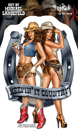 Keepin' It Country Cowgirl Pin-Up Sticker