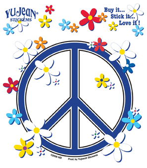 Peace Sign, Daisies Sticker