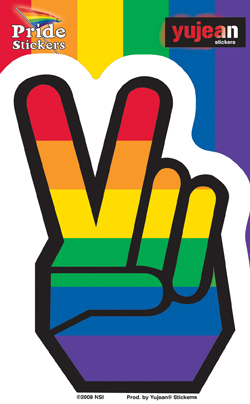Rainbow Pride Peace Fingers Sticker