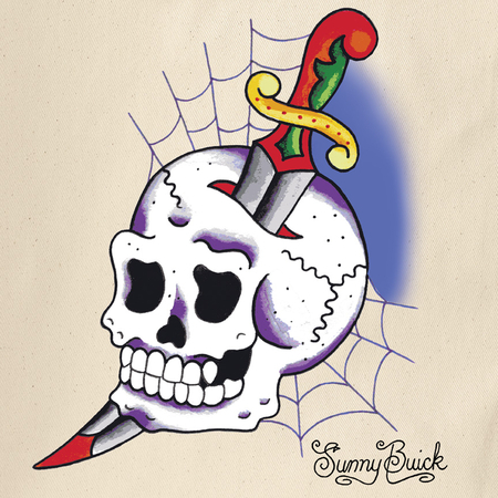 Sunny Buick Cobweb Skull Tote Bag | Tote Bags