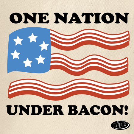 Evilkid One Nation Under Bacon Tote Bag | Evilkid