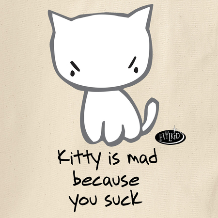 Evilkid Kitty Says You Suck Tote Bag | Tote Bags