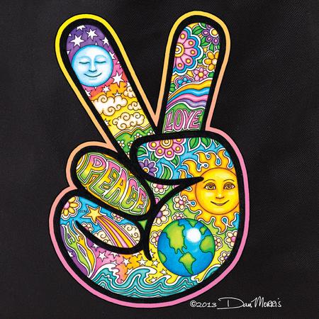 Dan Morris Peace Hand Tote Bag   Celestial