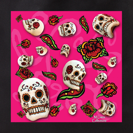MLuera Sugar Skulls on Pink Tote Bag | Latino