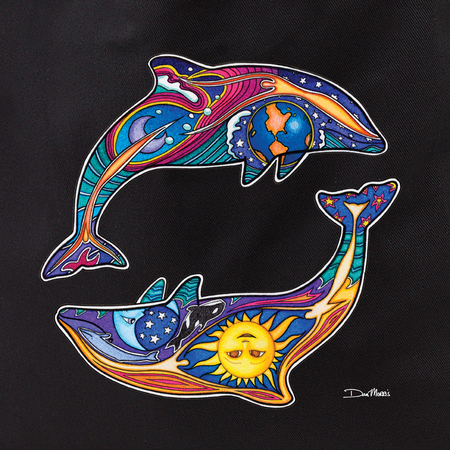 Dan Morris day night dolphins tote | Peace and Eco