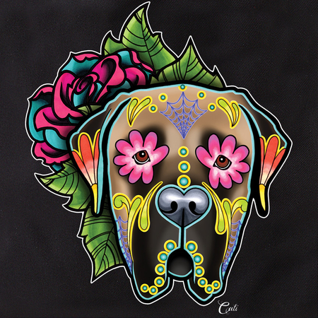 Cali Pretty In Ink Mastiff Fawn with flowers Tote | Sugar Skulls