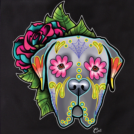 Cali Pretty In Ink Mastiff Grey with flowers Tote | Sugar Skulls