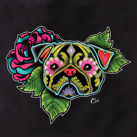 Cali Pretty In Ink Pug Black Flowers Tote | Cali: Pretty In Ink