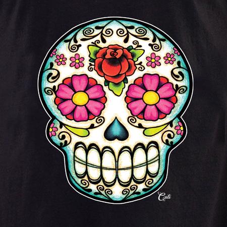 Cali Floral Sugar Skull Tote   Tote Bags