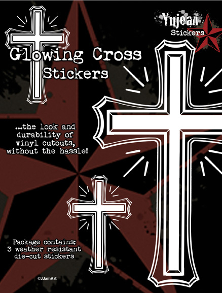 White Glowing Cross Sticker Set | Latino