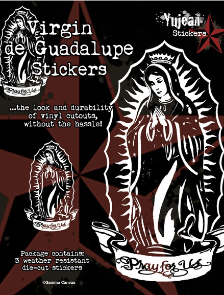White Virgin de Guadalupe Sticker  | Window Stickers: Clear Backing, Put Them Anywhere!