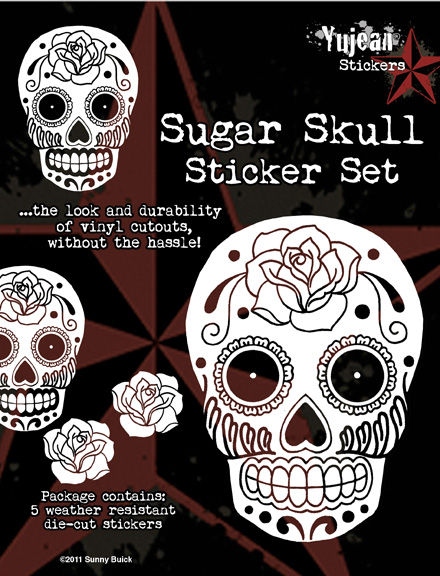 White Sugar Skull Sticker Set | Window Stickers: Clear Backing, Put Them Anywhere!