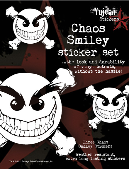 White Chaos Smiley Sticker Set | Biker
