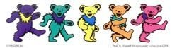5 Grateful Dead dancing bear strip sticker