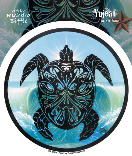 Parting Waves Tribal Sea Turtle Sticker