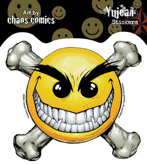Chaos-Smiley Face Crossbones Sticker