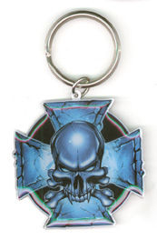 Blue Cross Of Iron Metal Keychain