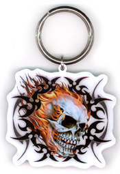 Flaming Skull Metal Keychain