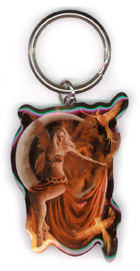 Fire Moon Metal Keychain