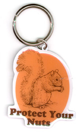 Protect Your Nuts Metal Keychain