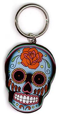 Sunny Buick Rose Sugar Skull Metal Keychain