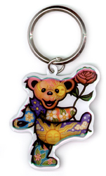 Grateful Dead Dancing Bear With Rose Metal Keychain