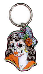 Sunny Buick Lady Sugar Skull Tattoo Metal Keychain