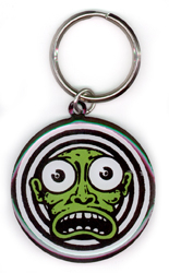 Kalynn Campbell lowbrow Green Face Metal Keychain