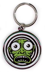 Kalynn Campbell Lowbrow Green Face Metal Keychain