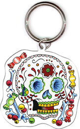 Sunny Buick Candy Sugar Skull Metal Keyring | Skulls and Dragons