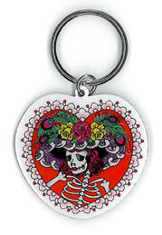 Sunny Buick Flower Hat Sugar Skull Keyring | Undead, Skeletons and Creatures of the Night