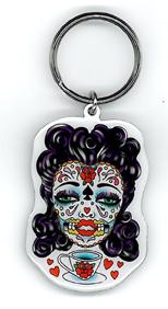 Sunny Buick Tea Lady Sugar Skull Key Ring | Sunny Buick