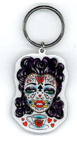 Sunny Buick Tea Lady Sugar Skull Key Ring | Latino