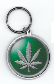 Chrome Leaf Key Ring | Cannabis