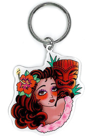 Sunny Buick Tiki Girl Tattoo Pinup Keychain | Tropical