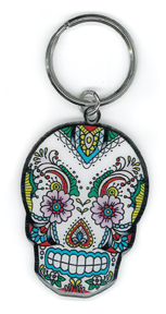 Sunny Buick Lace Sugar Skull Metal Keychain