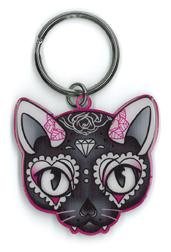 Cherry Martini Pink Cat Sugar Skull metal keychain | Keychains!