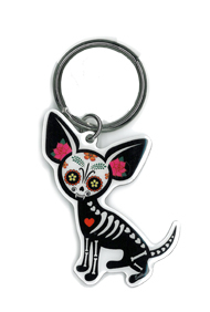 Evilkid Chihuahua Sugar Skull keyring | Undead, Skeletons and Creatures of the Night