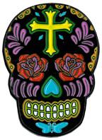 Sunny Buick Rose Cross Skull Enamel Pin | Sugar Skulls