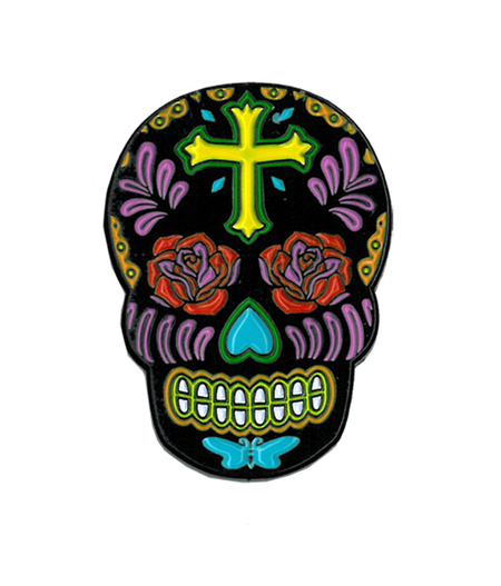 Sunny Buick Rose Cross Skull Enamel Pin | Skulls and Dragons