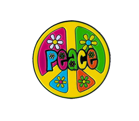 Peace w/ Flowers Round Enamel Pin | Hippie