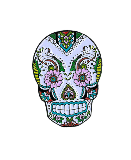 Sunny Buick Lace Skull Enamel Pin | Skulls and Dragons