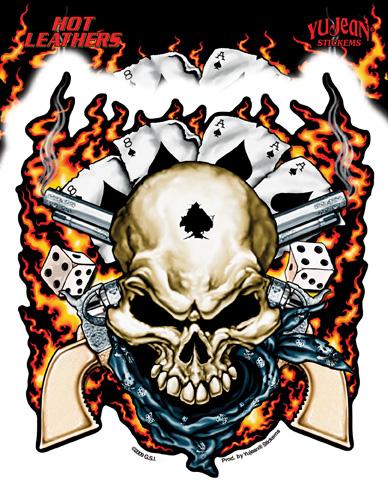 Hot Leathers Dead Man's Hand Sticker