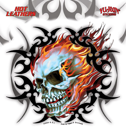 Hot Leathers Tribal Flame Skull Sticker