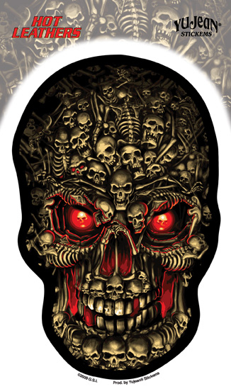 Hot Leathers Boneyard Skull Sticker
