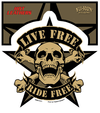 Hot Leathers Live Free Skull Sticker