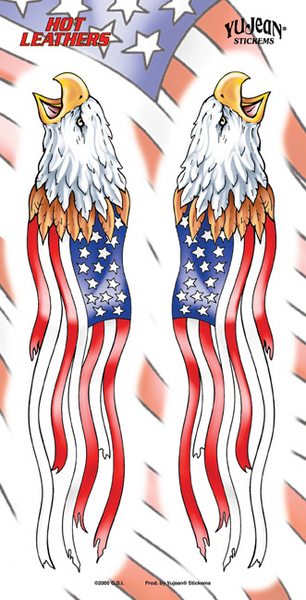 Hot Leathers Flag Eagles Sticker